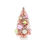 Pink Flocked Sisal Tree With Ornaments - Small