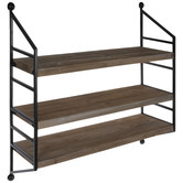 Brown Three-Tiered Wood Wall Shelf