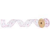 White & Pink Flamingo Wired Edge Satin Ribbon - 1""