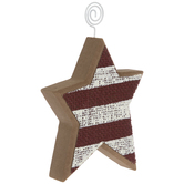 Red & White Striped Star Wood Photo Clip
