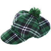 Green Plaid Golf Hat With Pom Pom