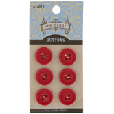 Red Round Buttons - 16mm
