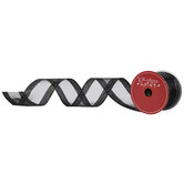 "Black Glitter Wired Edge Sheer Ribbon - 2 1/2"""