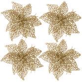 Gold Poinsettia Clip Ornaments