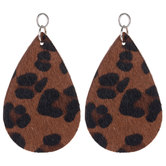 Leather Cheetah Print Teardrop Pendants