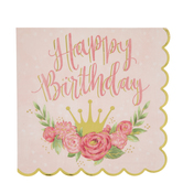 Crown & Flowers Birthday Paper Napkins - Large