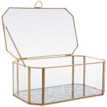 Gold Geometric Glass Jewelry Box