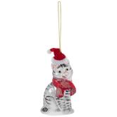 Striped Cat With Santa Hat Ornament