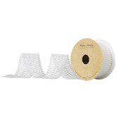 "White Rectangle & Round Plastic Pearl Ribbon - 1 15/16"""