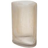 Golden Brown Ridged Triangle Glass Vase