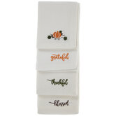 Grateful Thankful Blessed Embroidered Cloth Napkins