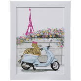 Parisian Cheetah On Scooter Wood Wall Decor