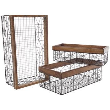 Black Geometric Rectangle Metal Basket Set