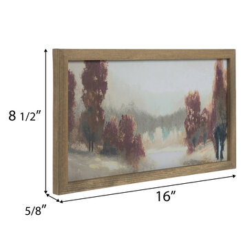 Red & Brown Abstract Landscape Wood Wall Decor