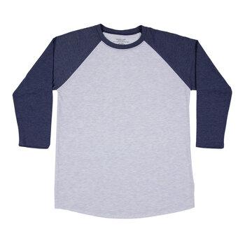 Heather Gray & Navy Adult Baseball Shirt - Extra Small