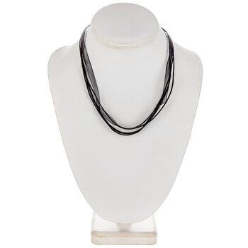 """Black Organza & Waxed Cotton Necklace Cord - 17 1/2"""""""