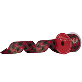 """Red Plaid Deer Wired Edge Ribbon - 2 1/2"""""""