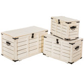 Antique White Wood Trunk Set