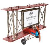 "Red Biplane Metal Wall Frame - 7"" x 5"""