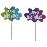 Happy Birthday Slime Cupcake Toppers