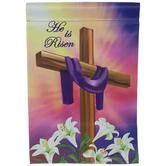 He Is Risen Cross Garden Flag
