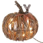 Rattan Light Up Pumpkin - Small