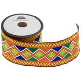 "Orange, Blue & Green Ethnic Diamond Design Decorative Trim - 2"""