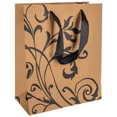 Kraft & Black Floral Flourish Gift Bag