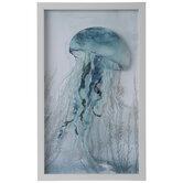 Blue Jellyfish Framed Wall Decor