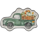 Teal Truck With Pumpkins Tray