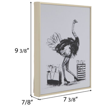 Ostrich & Shopping Bags Wood Wall Decor