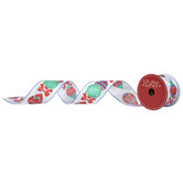 "Ornaments Wired Edge Single-Face Satin Ribbon - 2 1/2"""