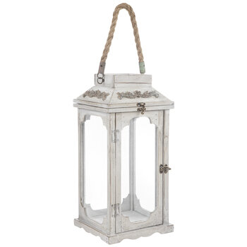 Distressed White Wood Lantern With Rope