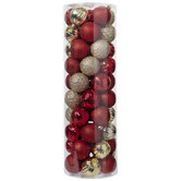 Red & Gold Shiny & Glitter Ball Ornaments