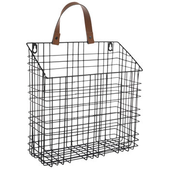 Black Metal Wall Basket - Large