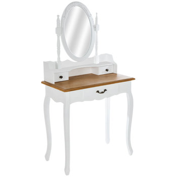 White Wood Vanity With Oval Mirror
