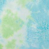 Blue, Lime & White Tie-Dye Knit Fabric