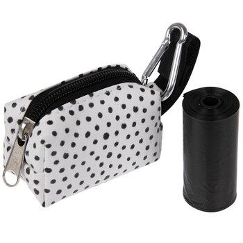 White & Black Dot Dog Waste Bag Pouch