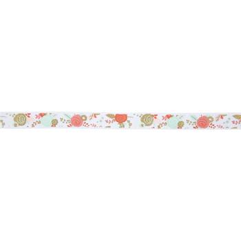 """Mint & Coral Floral Grosgrain Ribbon - 5/8"""""""