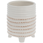 White & Brown Ribbed Flower Pot