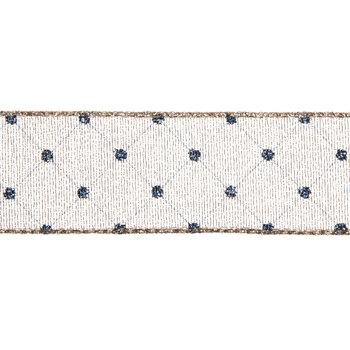 """Gold & Navy Polka Dot Wired Edge Sheer Ribbon - 1 1/2"""""""