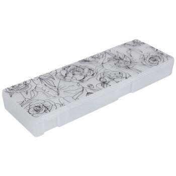 White & Black Floral Notions Case