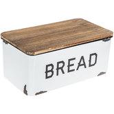 White Enamel Bread Box