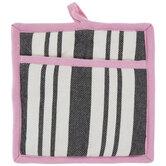 Black, White & Pink Striped Pot Holder