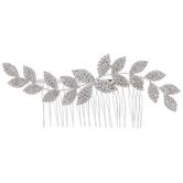 Silver Rhinestone Leaves Hair Comb