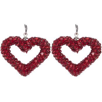Red Rhinestone Heart Pendants