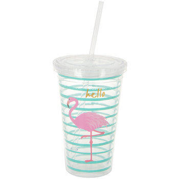 Flamingo Striped Double Wall Cup