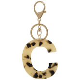 Leopard Print Letter Keychain - C