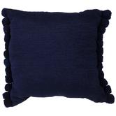 Blue Woven Pom Pom Pillow