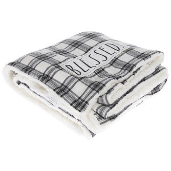 Blessed Plaid Sherpa Throw Blanket